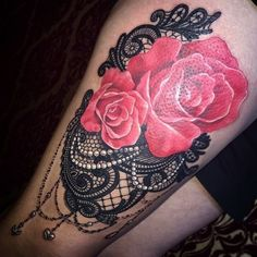 Black Lace Tattoo with Pearls and Red Rose.