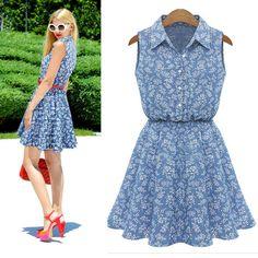1PC-Summer-Fashion-Women-Lady-Lapel-Sleeveless-Casual-Slim-Denim-Dress-Cheap
