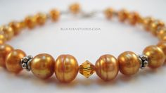 Topaz Swarovski crystals Copper freshwater pearls Bali sterling silver bracelet Beaded crystals pearls jewelry - pinned by pin4etsy.com