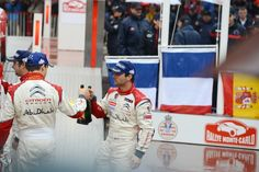 Sebastien Loeb of France and Daniel Sordo of Spain celebrate at the final ramp during day five of the WRC Monte-Carlo rally on January 20 , 2013 in Montecarlo , Monaco.