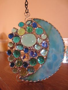 Stained glass moon suncatcher  Whimsical ornament