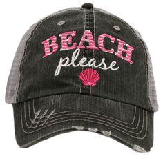 bbb9ecfa0f Distressed Trucker Hat - Beach Please Sea Shell Cap -Custom Trucker Cap - Trucker  Hat