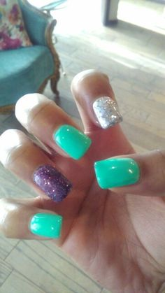 Teal,Purple,And Silver Nails