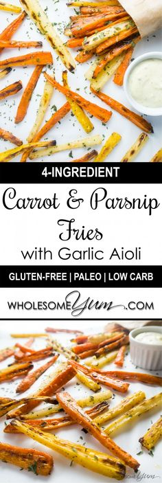 Carrot & Parsnip Fries with Garlic Aioli (Low Carb, Gluten-free) Low Carb Recipes, Vegetarian Recipes, Cooking Recipes, Yummy Recipes, Healthy Recipes, Keto Foods, Healthy Snacks, Healthy Appetizers, Recipes