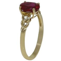 10kt yellow gold ruby ring sz7