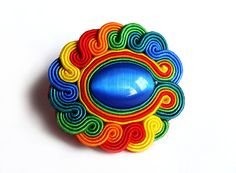 Multicolor RAINBOW soutache RING statement ring knuckle-duster colorful green blue red yellow orange oaak gift for her under 50 via Etsy