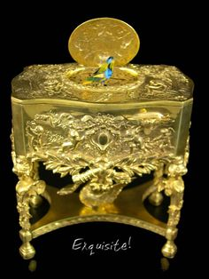 MMM Symphonion: Gold-plated Sterling Mechanical Singing Bird Box (Height 125mm)