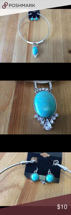 Turquoise and silver-toned earring/necklace set. Unique Choker style necklace and earring set. Jewelry Necklaces