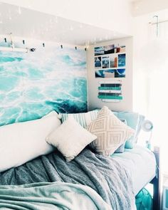 Beach Room Decor, Beachy Room, Cute Dorm Rooms, College Dorm Rooms, Room Ideas Bedroom, Bedroom Themes, Bedroom Decor, Bed Room, Child's Room