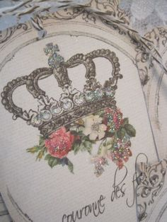 Vintage French Crown Gift Tags no 11 - Royal Crown - Paris - Roses - Floral Crown - Embossed - Glitter - Buy Three Get One Free. $5.75, via Etsy.