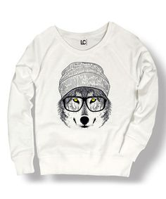 Another great find on #zulily! White Hipster Wolf Sweatshirt #zulilyfinds