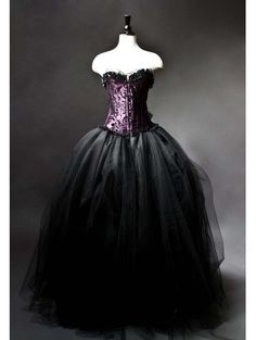 Purple and Black Gothic Burlesque Corset Gown