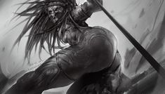 The Female Predator by Rappu Saran Alien Vs Predator, Predator Alien, Alien Female, Female Orc, Monster Concept Art, Monster Art, Female Yautja, Female Monster, Black Cartoon Characters
