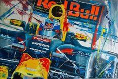 eric-jan-kremer-acryl-op-linnen-max-verstappen-red-bull Formula 1 Car Racing, Car Illustration, Illustrations, Red Bull, F1, Race Cars, Comic Books, Painting, Design