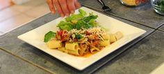 Rigatoni With Mushroom Sauce & Romaine, Red Onion & Orange Salad – $10 or Less Meal