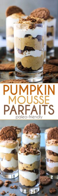Healthy Pumpkin Mousse Parfaits! A dairy-free and paleo-friendly dessert.