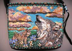 WOLF BAG - lots of wonderful bead embroidery Seed Bead Patterns, Beading Patterns, Beading Ideas, Beading Projects, Beaded Purses, Beaded Bags, Beadwork Designs, Native Beadwork, Native American Beading