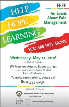 Pain Management Event Austin, TX May 11, 2016