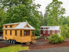Lincoln a 261 sq ft tiny house from the Tumbleweed Tiny House Company. Available for rent at the Mt. Hood Village Resort.