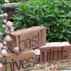 Another cool idea for gardening labels and reusing bricks you might not need laying around