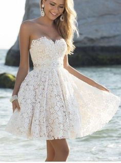 High Quality French Lace Homecoming Dress,Knee Length Lace Prom Dress,Fashion Short Lace Evening Dress