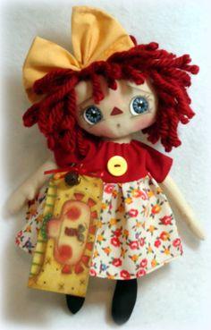 Primitive Raggedy Doll  Tillie por Allisbright en Etsy