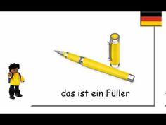 German School Things ~ Schulsachen auf Deutsch - YouTube German Grammar, German Language, Starting School, World Languages, Learn German, School Classroom, Homeschool, Teaching, Education