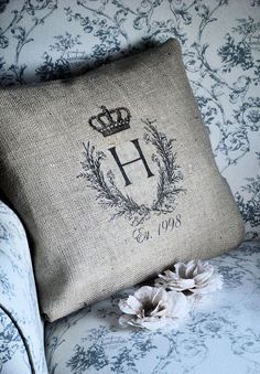Items similar to Burlap Pillow Cover Monogrammed Pillow seen in Brides Magazine on Etsy