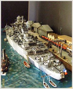 A diorama of French Battleship Richelieu.