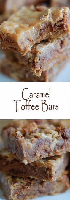Caramel Toffee Bars #bars #cookies