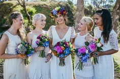 BRIDESMAIDS mismatched FLOWER CROWNS FLOWERS   Hello May Magazine.  Photography by Mitch Pohl.