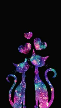 Kitty cat love galaxy wallpaper I created!