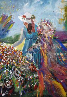 Artist: Kratimenou Konstantina Title: May's girl 50x70dim mixmedia price:550euro Joomla Templates, Fingerprints, Gallery, Artist, Painting, Painting Art, Paintings, Amen, Artists