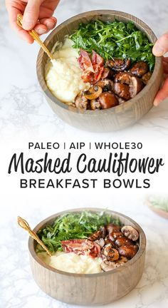 the recipe for this low carb, gluten free, and AIP Friendly breakfast - the Mashed Cauliflower Breakfast Bowl.Get the recipe for this low carb, gluten free, and AIP Friendly breakfast - the Mashed Cauliflower Breakfast Bowl. Whole 30 Breakfast, Breakfast Bowls, Healthy Breakfast Recipes, Healthy Recipes, Breakfast Ideas, Breakfast Time, Breakfast Cookies, Breakfast Dessert, Vegan Breakfast Low Carb