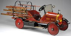 Kamisco Vintage Fire Truck and other trending products for sale at competitive prices. Toy Trucks, Fire Trucks, Antique Toys, Vintage Toys, Toy Wagon, Kids Ride On, Pedal Cars, Tin Toys, Small Cars