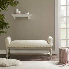 """Madison Park Wilking Cream (Ivory) Upholstered Accent Bench (50W x 20""""D x 22""""H - Cream)"""