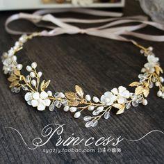 出口歐美手工花朵水晶發帶清新甜美新娘頭飾飾品簡約結婚度假發飾-淘寶台灣,萬能的淘寶