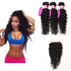 Peony Hair 7A Grade Water Wave 3 Bundles Closure Uprocessed Virgin hair with 44 lace closure free part 20 22 2420 free part Natural Color -- Click affiliate link Amazon.com on image for more details.