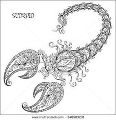 Pattern for coloring book. Hand drawn line flowers art of zodiac Scorpio. Horoscope symbol for your use. For tattoo art, coloring books set. Henna Mehndi Tattoo Ethnic Zentangle Doodles style.