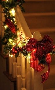 I love the lite up garland like this. I want to do it around our front door this winter