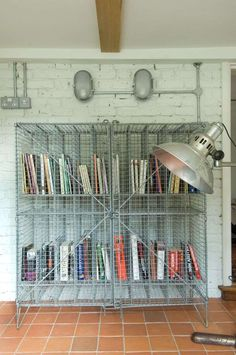 Wire mesh baskets as bookshelves