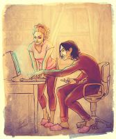Severus, Hermione and the computer by Yulashka