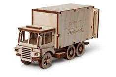 Wooden constructor truck machine Is Mechanical 3D Puzzle