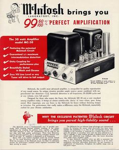 McIntosh audio gear ad 40s or 50s