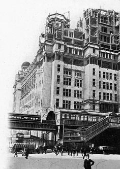 One of the Overhead Railway Stations, during the Liver Buildings Construction.