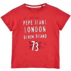 Red flamed cotton jersey T-shirt. Round neck and short sleeves. Pepe Jeans logo print on the chest. - 25,00 €