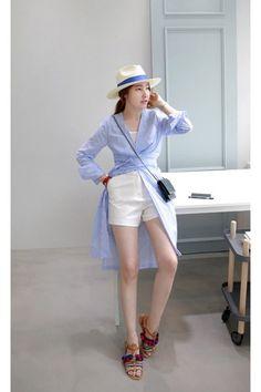 sky blue MIAMASVIN dress - white MIAMASVIN shorts - MIAMASVIN sandals