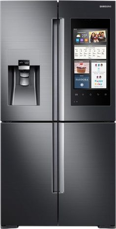 Samsung - Family Hub 2.0 28.0 Cu. Ft. 4-Door Flex French Door Refrigerator with Apps - Black stainless steel