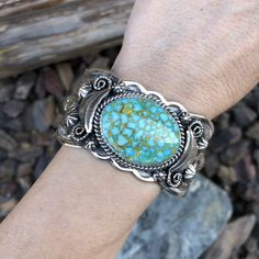 Turquoise Mountain Turquiose Cuff with Exquisite Hand Crafted Details | Native American Jewelry For Sale - #1 Rated & 100% Authentic