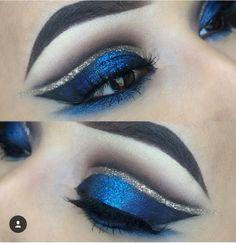Blue and silver cut crease make up